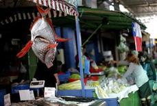 Imagen de archivo de un pescado a la venta en el mercado de La Vega en Santiago, sep 14 2010. Los precios al consumidor de Chile se mantuvieron estables en diciembre y cerraron el año con un avance del 1,5 por ciento pese al fuerte crecimiento de la demanda interna, lo que afianza las expectativas de que la tasa de interés de referencia no se moverá en el corto plazo. REUTERS/Carlos Barria