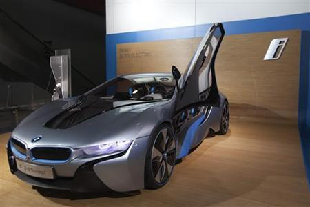 The BMW i8 Concept Spyder hybrid gas/electric car is displayed during the media preview of the 10th China International Automobile Exhibition in Guangzhou November 22, 2012. REUTERS/Tyrone Siu