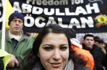 Demonstrators take part in a protest in favor of jailed Kurdistan Workers Party (PKK) leader Abdullah Ocalan in Strasbourg February 18, 2012. REUTERS/Vincent Kessler