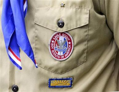 An Eagle Scout patch is pictured in Orlando, Florida in this May 30, 2012 file photograph. A California chapter of the Boy Scouts of America is directly challenging the national organization's ban on gays by formally recommending that an openly gay former Scout be awarded the top rank of Eagle. REUTERS/David Manning/Files