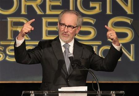 Director Steven Spielberg speaks at The Hollywood Foreign Press Association's (HFPA) annual luncheon to announce financial grants to film schools and non-profit organizations at the Beverly Hills hotel in Beverly Hills, California August 9, 2012. REUTERS/Mario Anzuoni/Files