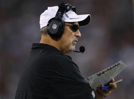 New York Jets offensive coordinator Tony Sparano looks on against the New York Giants during the second quarter of their pre-season NFL football game in East Rutherford, New Jersey August 18, 2012. REUTERS/Adam Hunger