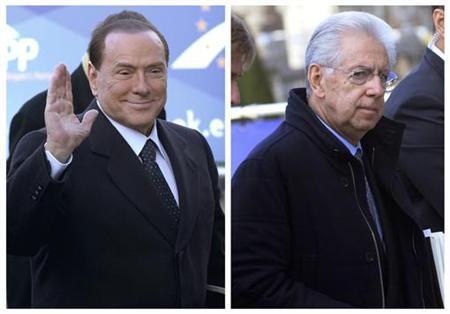 A combination picture shows Italy's former Prime Minister Silvio Berlusconi (L) and Italy's Prime Minister Mario Monti arriving for a meeting of the European People's Party (EPP), ahead of a two-day European Union leaders summit, in Brussels December 13, 2012. REUTERS/Eric Vidal