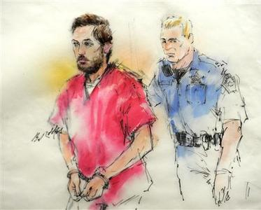 Colorado shooting suspect James Holmes is pictured in a courtroom sketch as he is led into court for a preliminary hearing in Centennial, Colorado January 7, 2013. REUTERS/Bill Robles