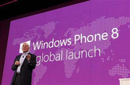 Microsoft CEO Steve Ballmer speaks during the launch of Windows Phone 8 in San Francisco, California October 29, 2012. REUTERS/Robert Galbraith