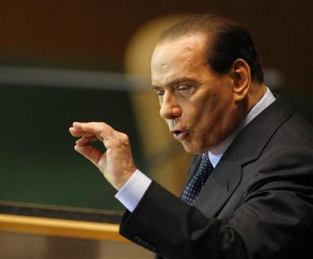 Italy's Prime Minister Silvio Berlusconi addresses the 64th United Nations General Assembly at the U.N. headquarters in New York September 23, 2009. REUTERS/Shannon Stapleton