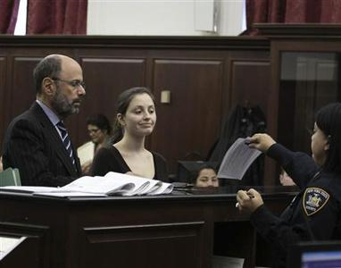 Morgan Gliedman (C) stands next to her lawyer Gerald Shargel (L) in Manhattan Criminal Court in New York January 8, 2013. REUTERS/Dan Brinzac/Pool (UNITED STATES - Tags: CRIME LAW)