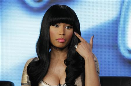 Judge Nicki Minaj gestures during a Fox panel for the television series ''American Idol'' at the 2013 Winter Press Tour for the Television Critics Association in Pasadena, California January 8, 2013. REUTERS/Mario Anzuoni