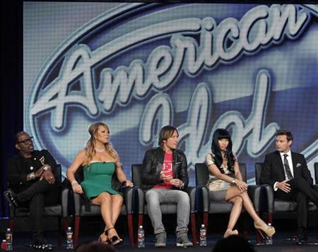 Judges Randy Jackson (L-R), Mariah Carey, Keith Urban, Nicki Minaj and host Ryan Seacrest attend a Fox panel for the television series ''American Idol'' at the 2013 Winter Press Tour for the Television Critics Association in Pasadena, California January 8, 2013. REUTERS/Mario Anzuoni