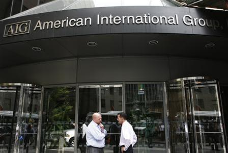 People stand outside the American International Group (AIG) offices in New York in this September 17, 2008 file photograph. American International Group Inc, the insurer rescued by the U.S. government in 2008 with a bailout that ultimately totaled $182 billion, may join a lawsuit against the government alleging the terms of the deal were unfair. REUTERS/Shannon Stapleton/Files