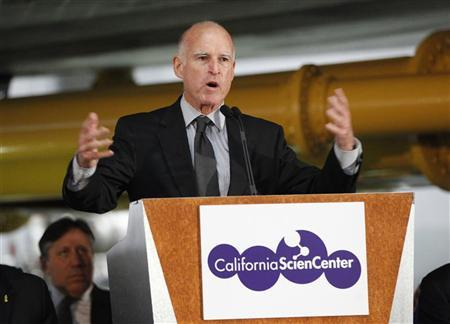 California Governor Jerry Brown speaks during the opening ceremony of the Space Shuttle Endeavour Exhibition at the California Science Center in Los Angeles, California October 30, 2012. REUTERS/Mario Anzuoni