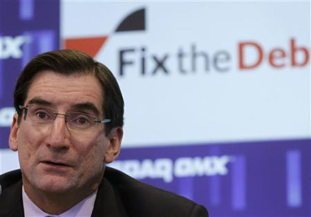 Robert Greifeld, CEO of the Nasdaq-OMX Stock Market, attends a news conference for the Campaign to Fix the Debt at the Nasdaq Market site in New York January 8, 2013. REUTERS/Brendan McDermid