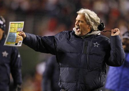 Dallas Cowboys defensive coordinator Rob Ryan rips off his head set while protesting a penalty against the Cowboys late in the second half of their NFL football game against the Washington Redskins in Landover, Maryland December 30, 2012. REUTERS/Gary Cameron
