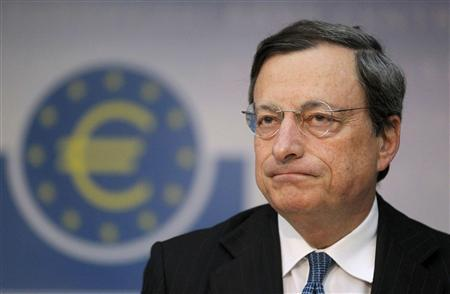 European Central Bank (ECB) President Mario Draghi speaks during the monthly news conference in Frankfurt in this August 2, 2012 file photo. REUTERS/Alex Domanski/Files