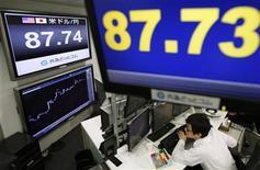 El dólar subió en Asia contra el yen después de un repliegue esta semana desde los máximos de dos años y medio que atrajo a los compradores. En la imagen, un empleado de una empresa de cambios mira los monitores que muestran e ltipo de cambio del dólar frente al yen, en Tokio, el 4 de enero de 2013. REUTERS/Toru Hanai
