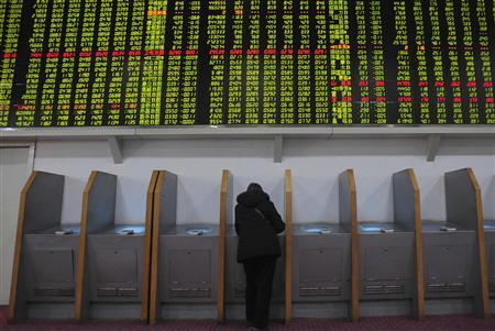 An investor trades stocks under a screen showing stock information at a brokerage house in Hefei, Anhui province in this February 18, 2009 file photograph. REUTERS/Stringer