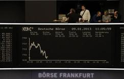 Les Bourses européennes ont effacé une bonne partie de leurs gains initiaux à mi-séance, les investisseurs n'ayant pas trouvé de réconfort dans l'annonce d'un rebond faible et inférieur aux attentes de la production industrielle allemande en novembre. Vers 11h50 GMT, le Dax à Francfort (+0,10%) et le CAC 40 à Paris (+0,08%) peinent à se maintenir en territoire positif. /Photo prise le 9 janvier 2012/REUTERS/Remote/Lizza David
