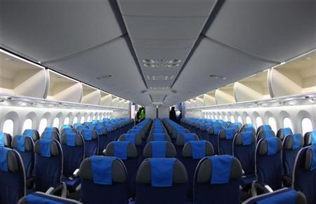 A view inside a Boeing 787 Dreamliner aircraft after its first official landing at the Vienna airport December 17, 2012. REUTERS/Heinz-Peter Bader
