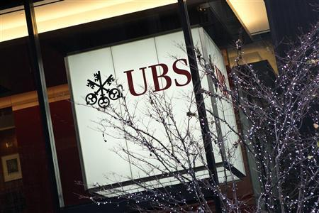 The offices of Swiss bank UBS are seen in New York December 19, 2012. UBS agreed to a $1.5 billion fine on Wednesday after admitting to fraud and bribery in a deepening scandal over the rigging of global benchmark interest rates. REUTERS/Andrew Burton