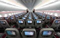 Seats and screens are seen in the economy class cabin of Qatar Airways new Boeing 787 Dreamliner are seen after it arrived on it's inaugural flight to Heathrow Airport, west London December 13, 2012. REUTERS/Andrew Winning
