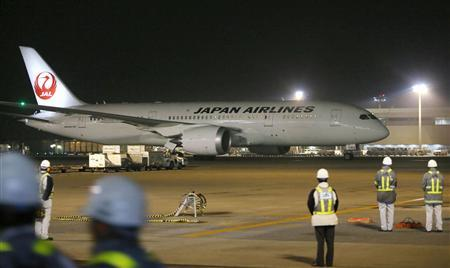 Japan Airlines' (JAL) Boeing Co's 787 plane which encountered the mishap of a fuel leak arrives at New Tokyo international airport in Narita, east of Tokyo, in this photo taken by Kyodo, January 9, 2013. REUTERS/Kyodo