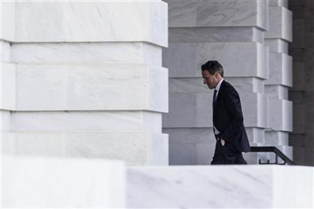 U.S. Treasury Secretary Timothy Geithner arrives at the U.S. Capitol Building before a meeting with House Minority Leader Nancy Pelosi (D-CA) on Capitol Hill in Washington D.C. November 29, 2012. REUTERS/Benjamin Myers/Files