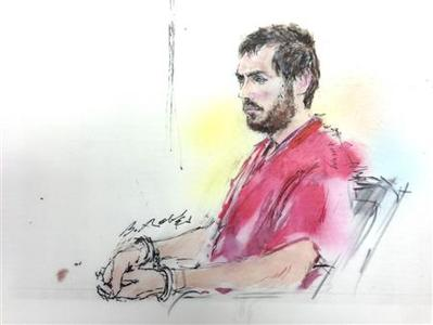 Colorado shooting suspect James Holmes is pictured in a courtroom sketch during a preliminary hearing in Centennial, Colorado January 9, 2013. REUTERS/Bill Robles