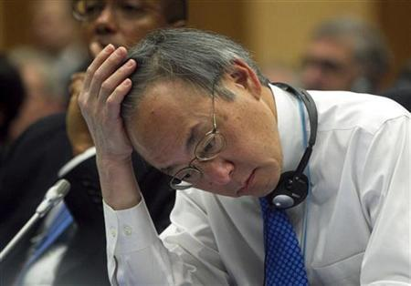 U.S. Secretary of Energy Steven Chu reacts as he attends the 56th IAEA General Conference at the UN headquarters in Vienna September 17, 2012. REUTERS/Herwig Prammer/Files