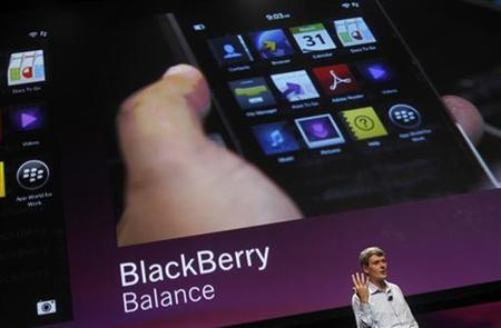 Research In Motion CEO Thorsten Heins discusses features of the Blackberry 10 during his keynote address during the Blackberry Jam Americas in San Jose, California September 25, 2012. REUTERS/Robert Galbraith/Files