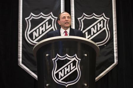 National Hockey League (NHL) Commissioner Gary Bettman announces the end of labor negotiations between the NHL and the NHL Players Association (NHLPA) in New York, January 9, 2013. The NHL and locked-out players reached a tentative agreement on Sunday to end a costly labor dispute and salvage a condensed season that was days away from being cancelled entirely. REUTERS/Lucas Jackson
