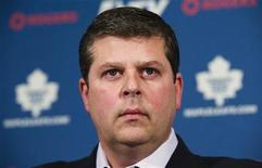 Dave Nonis speaks during a news conference after he replaced Brian Burke to take over the general manager job for the NHL team the Toronto Maple Leafs, in Toronto January 9, 2013. REUTERS/Mark Blinch