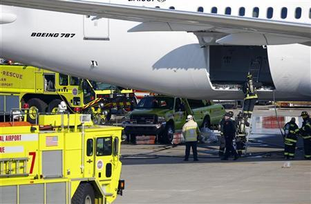 Firefighters climb into a rear cargo compartment of a Japan Airlines Boeing 787 Dreamliner that caught fire at Logan International Airport in Boston, Massachusetts January 7, 2013. REUTERS/Brian Snyder