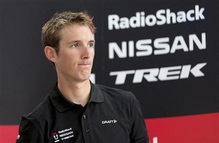 Radioshack Nissan Trek cycling team rider Andy Schleck reacts as he attends a news conference in Luxembourg June 13, 2012. REUTERS/Jan Schwarz/Files