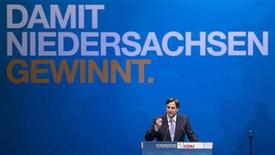 Lower Saxony federal state premier and top candidate of the CDU in the federal state elections David McAllister gestures during his speech during the CDU's initial election campaign event in Brunswick, January 5, 2013. REUTERS/Morris Mac Matzen (GERMANY - Tags: POLITICS ELECTIONS)