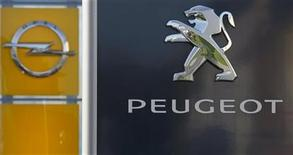 The logo of German General Motors daughter Opel and French car maker Peugeot are seen at a Opel and Peugeot dealership in Leverkusen near Cologne October 22, 2012. Picture taken October 22. REUTERS/Wolfgang Rattay (GERMANY - Tags: TRANSPORT BUSINESS LOGO)