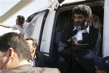 Muammar Gaddafi's former spy chief Abdullah al-Senussi arrives in Tripoli September 5, 2012. REUTERS/Libyan National Guard/Handout