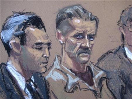 In this courtroom illustration Viktor Bout, a Russian arms dealer caught in an undercover sting operation by U.S. agents posing as Colombian guerrillas seeking weapons, sits during sentencing in New York April 5, 2012. Bout, arrested in Bangkok in 2008, was sentenced to 25 years in prison. REUTERS/Jan Rosenberg/Handout