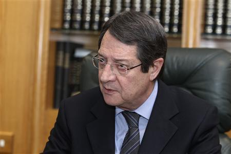 Cypriot opposition candidate Nicos Anastasiades, a frontrunner to win the island's presidential election on February 17, in an interview with Reuters in Nicosia January 10, 2013. REUTERS/Andreas Manolis