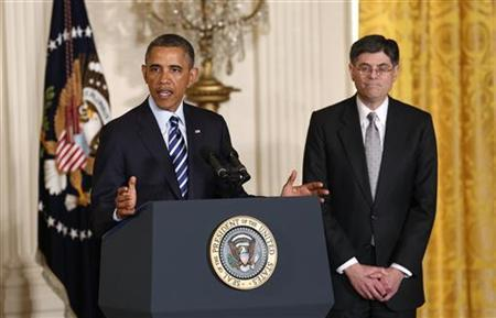 U.S. President Barack Obama announces his nomination of White House chief of staff and budget expert Jack Lew (R) as his next treasury secretary, in the East Room of the White House in Washington, January 10, 2013. REUTERS/Kevin Lamarque