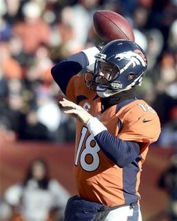 Denver Broncos Peyton Manning passes against the Kansas City Chiefs during their NFL football game in Denver, Colorado December 30, 2012. REUTERS/Mark Leffingwell