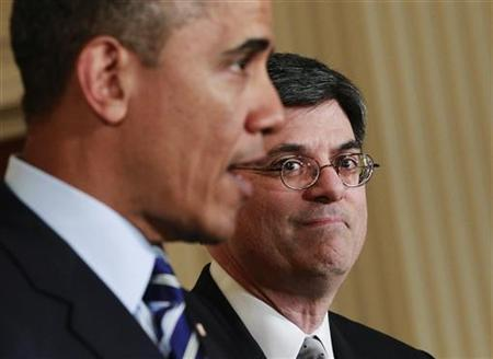 U.S. President Barack Obama announces his Chief of Staff Jack Lew (R) as his nominee for Treasury Secretary, in the East Room of the White House in Washington, January 10, 2013. REUTERS/Jason Reed