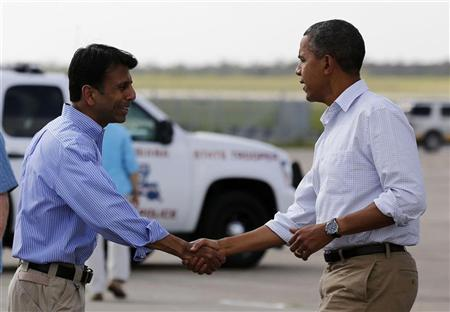 U.S. President Barack Obama shakes hands with Louisiana Governor Bobby Jindal after arriving at Louis Armstrong International Airport in New Orleans September 3, 2012. REUTERS/Larry Downing