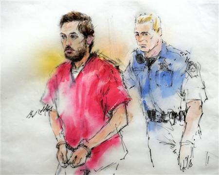 James Holmes (L), accused shooter of the July 20, 2012 theater shootings, being led into court for an appearance is shown in a courtroom sketch in Centennial, Colorado January 7, 2013. REUTERS/Bill Robles