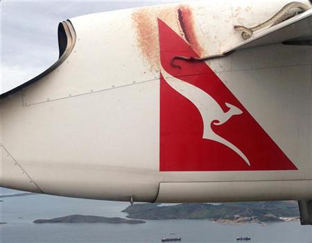 A python lies wedged on the wing of a Qantas passenger plan as it flies over Port Moresby January 10, 2013 in this handout picture. REUTERS/Robert Weber/oldplantation.com.pg/Handout