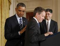 U.S. President Barack Obama announces his Chief of Staff Jack Lew (R) as his nominee for Treasury Secretary, in the East Room of the White House in Washington, January 10, 2013. If confirmed by the Senate, Lew will replace Tim Geithner (C). REUTERS/Jason Reed (UNITED STATES - Tags: POLITICS BUSINESS)