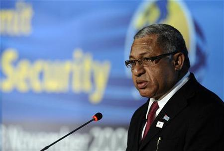 Fiji coup leader and self-appointed Prime Minister Frank Bainimarama speaks at the United Nations Food and Agriculture Organization (FAO) headquarters during a food security summit in Rome November 17, 2009. REUTERS/Filippo Monteforte/Pool