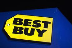 A Best Buy logo is seen during Thanksgiving Day in San Francisco, California, November 22, 2012. Black Friday, the day following the Thanksgiving Day holiday, has traditionally been the busiest shopping day in the United States. REUTERS/Stephen Lam