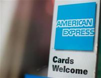 An American Express sign is seen on a restaurant door in New York July 22, 2010. REUTERS/Brendan McDermid (UNITED STATES - Tags: BUSINESS)