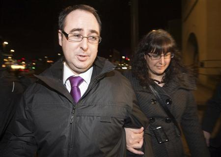 Ashley Gill-Webb (L) leaves Stratford magistrates court in east London January 3, 2013. REUTERS/Paul Hackett