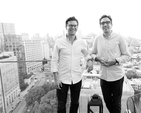 Co-founders of Warby Parker, Dave Gilboa (L) and Neil Blumenthal, are seen in this undated handout photo. REUTERS/Benjamin Lozovsky/BFAnyc.com/Handout